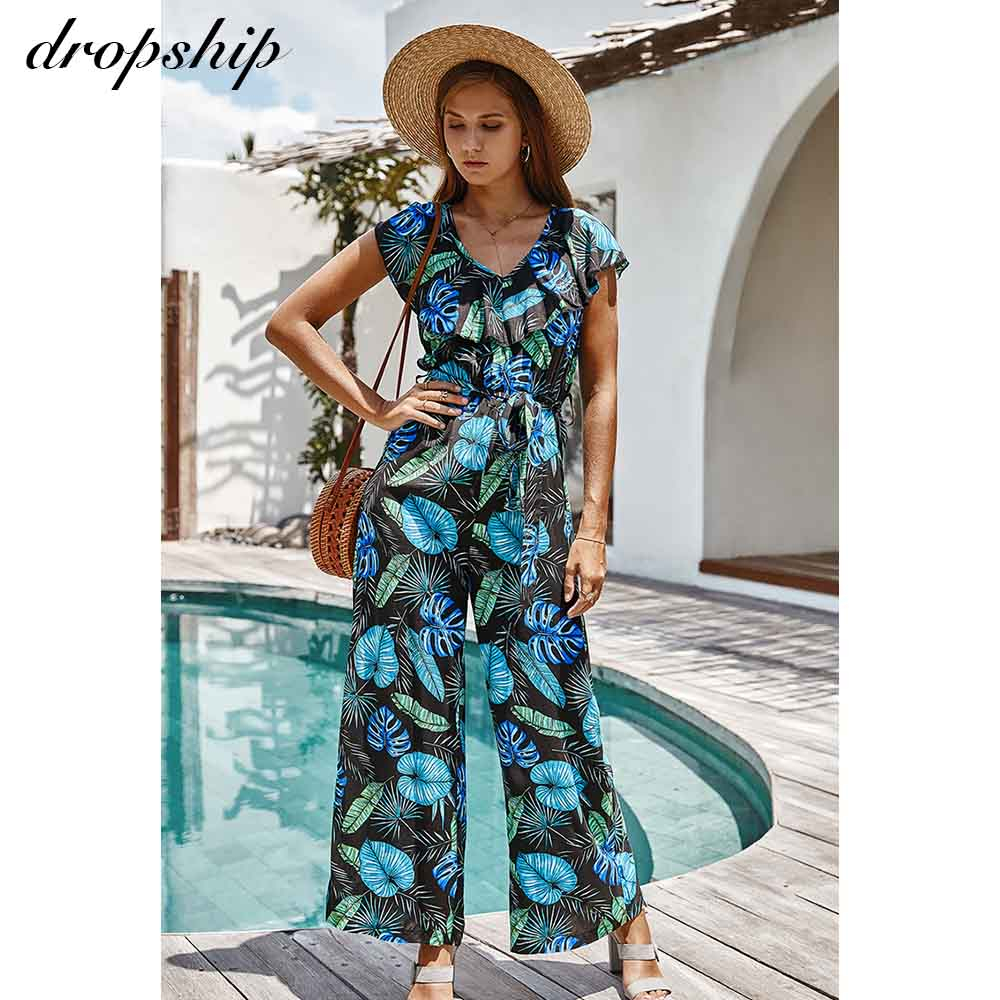 Dropship Women Summer Jumpsuit Ladies Floral Boho Beach Romper Lace Up Playsuit Wide Leg Loose Holiday Jumpsuits 2020 Overalls