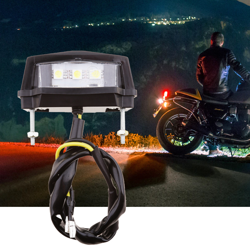 Motorcycle 3 LED Rear Tail Stop White Light Lamp For Braking/License Plate Light For Yamaha/Honda/Kawasaki/Suzuki ATV Quad Etc