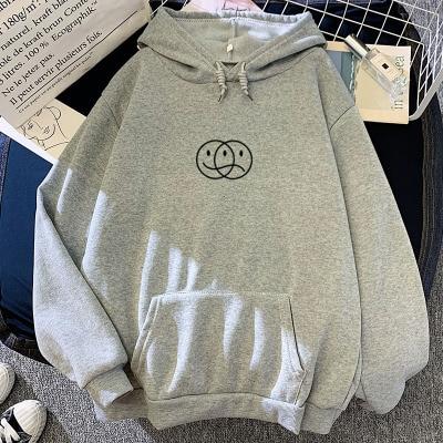 Korean Streetwear Sweatshirt Men Women Casual Pullover Hip Hop Long Sleeve Smile Sad Face Line Print Sport swear Tops Hoodies 7