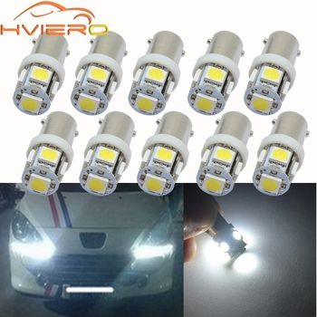 10X BA9S Festoon Dome Door Light T4W 5LED 5050 Car LED White Red Green Blue Marker Bulb Wedge Light Tail Lamp DC 12V Tail Led 10pcs t11 ba9s 5050 5 smd led white light bulb car light source car 12v lamp t4w 3886x h6w 363 high quality