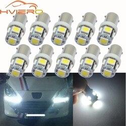 10X BA9S Festoon Dome Door Light T4W 5LED 5050 Car LED White Red Green Blue Marker Bulb Wedge Light Tail Lamp DC 12V Tail Led