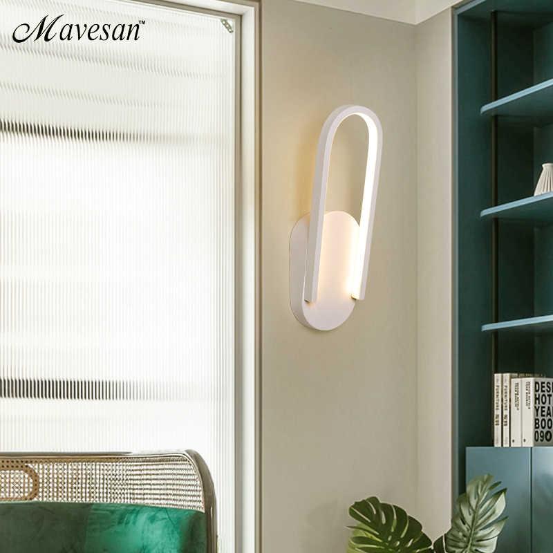Современный светодиодный настенный светильник для гостиной, спальни, коридора, белого и черного цвета, светодиодный настенный светильник
