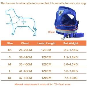 Image 5 - Köpek koşum tasma yaz Pet ayarlanabilir yansıtıcı yelek yürüyüş kurşun köpek Polyester örgü koşum küçük orta köpek için