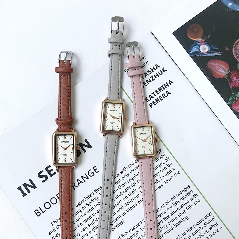 Classic Simple Rectangle Vintage Leather Women Watches 2019 Fashion Casual Ladies Quartz Wristwatches Qualities Woman Clock
