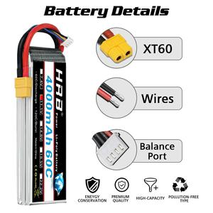 Image 4 - HRB RC Lipo Battery 3S 4S 5S 6S 4000mah 14.8v 22.2v Lipo 60C XT60 plug  for rc car boat drone trex 500 550 600E Align helicopter