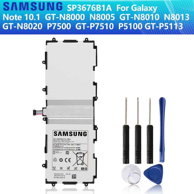 <font><b>SAMSUNG</b></font> Original Battery SP3676B1A For <font><b>Samsung</b></font> Galaxy Note 10.1 <font><b>GT</b></font>-N8000 N8010 N8020 N8013 <font><b>P7510</b></font> P7500 P5100 P5110 P5113 7000mAh image