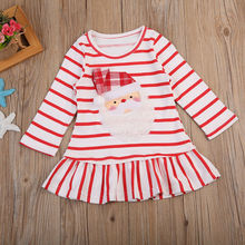 Christmas Baby Girl Dress Casual Children Princess Striped Dresses Party Ruffle Hem Skirt Xmas Cartoon Santa Claus Long Sleeve