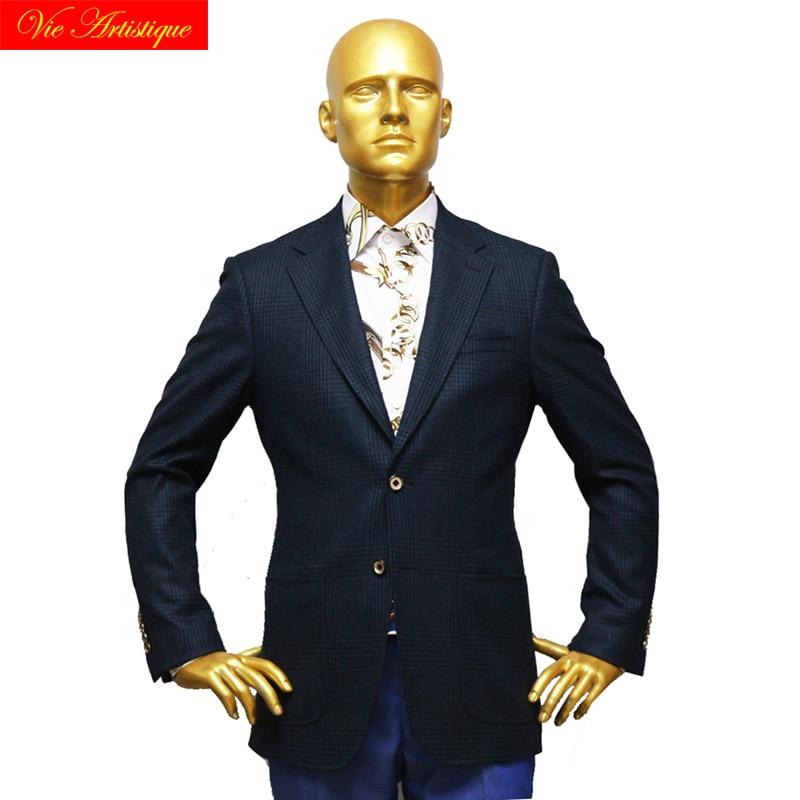 Custom Tailor Made Men's Bespoke Suits Business Formal Wedding Ware 1 Pieces Jacket Coat Dark Navy Plaid Fine Heavy Tweed Wool