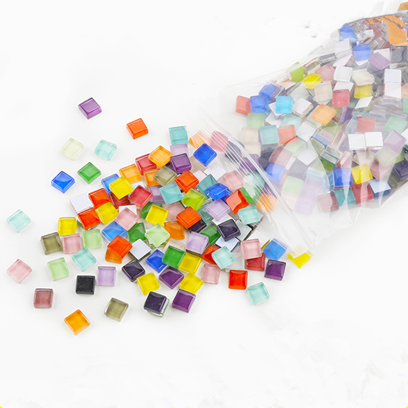 300pcs/Pack Colorful Crystal Glass Mosaic Tiles DIY Materials Kids DIY Craft Handmade Square Mosaic Stones Children Toys Gifts