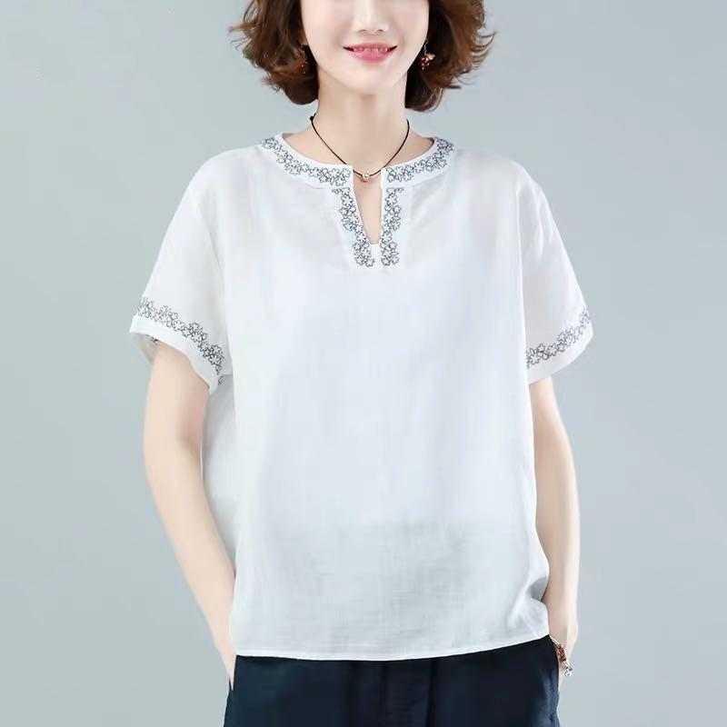 Oversized Cotton Linen Shirt Women Summer Loose Casual Tops New 2020 Simple Style Vintage Embroidery Woman Blouses Shirts P1316 7