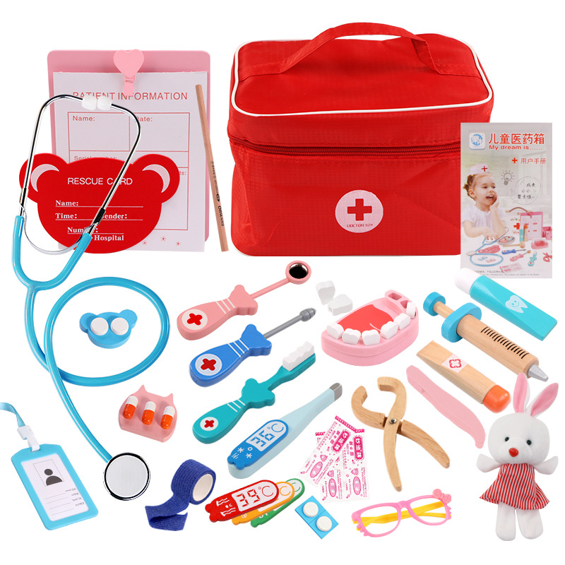 Children's Wooden Simulation Cloth Bag Medicine Box Baby Boy And Girl Family Friendly Simulation Doctor Injection Toy Gift