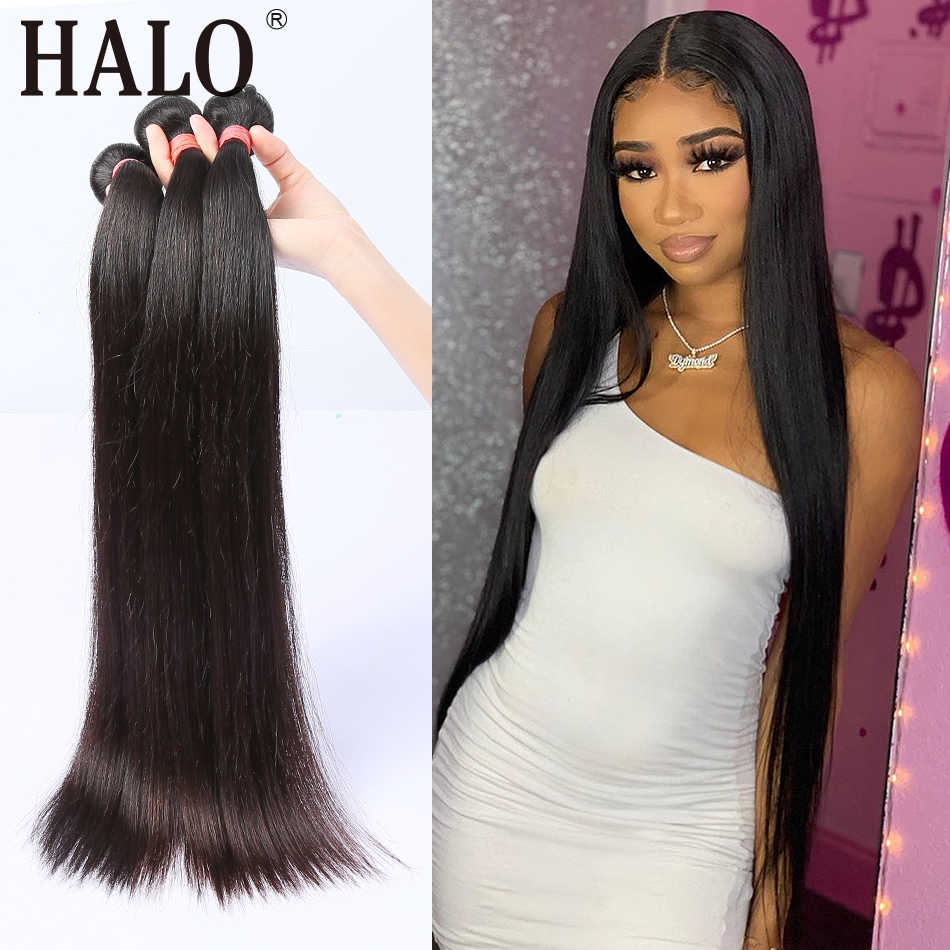 Halo Hair Straight 10-28 30 40 Inch 3 4 Bundles Brazilian Hair Weave Bundles 100% Human Hair Long Remy Hair Extension