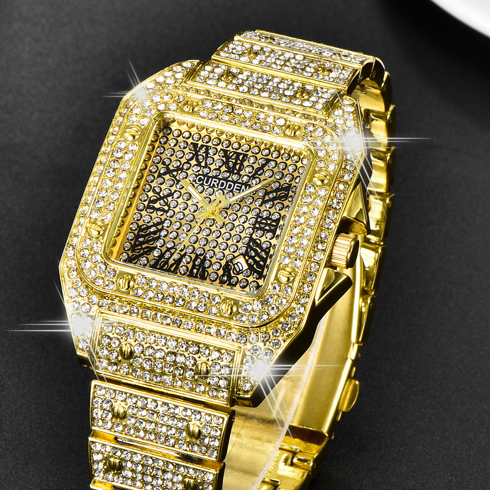 Fashion Iced Out Watch For Men Hip Hop Gold Mens Quartz Watches Classic Square Clock Men Waterproof Reloj Hombre Dropshipping