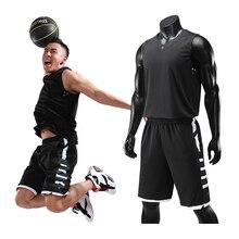 Мужские костюмы баскетбольные на заказ DIY Униформа Спортивная тренировочная Джерси баскетбольные наборы быстросохнущие без рукавов Спортивные топы+ шорты