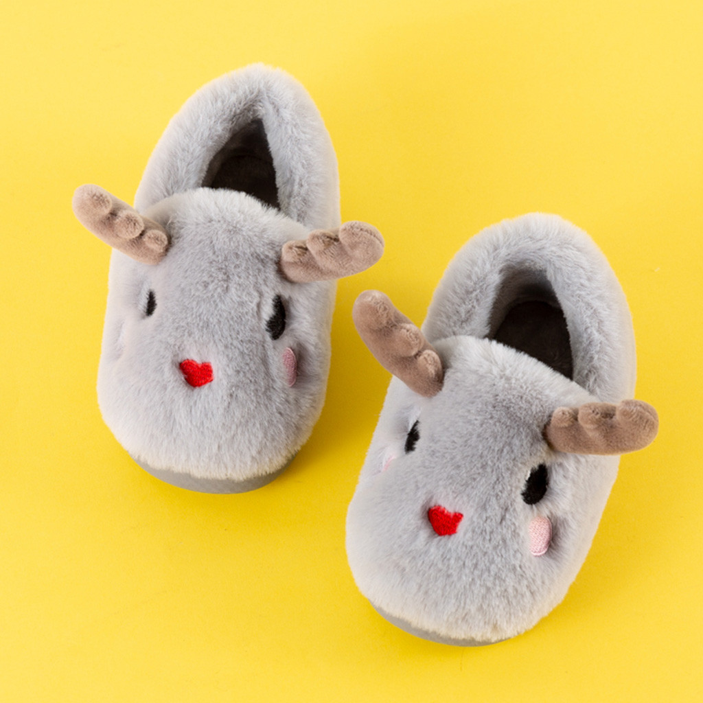 Toddler Infant Winter Slippers Warm Shoes Kids Baby Cute Cartoon Sheep Shoes With Funny Horn Light Non-slip Floor Home Shoes