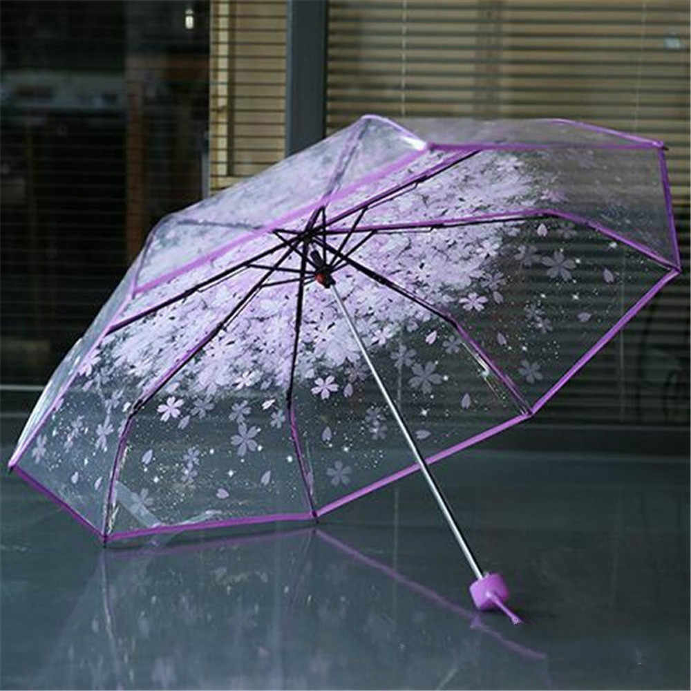 Transparent Clear Umbrella Cherry Blossom Mushroom Apollo Sakura 3 Fold Umbrella Sakura 3 Fold Umbrella women girl's Umbrella