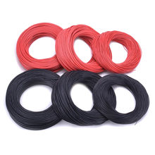 Cabo de silicona blando a prueba de calor para batería de modelo rc, 1 metro, rojo, 1 metro, negro, 12awg, 14awg, 16awg, 18awg