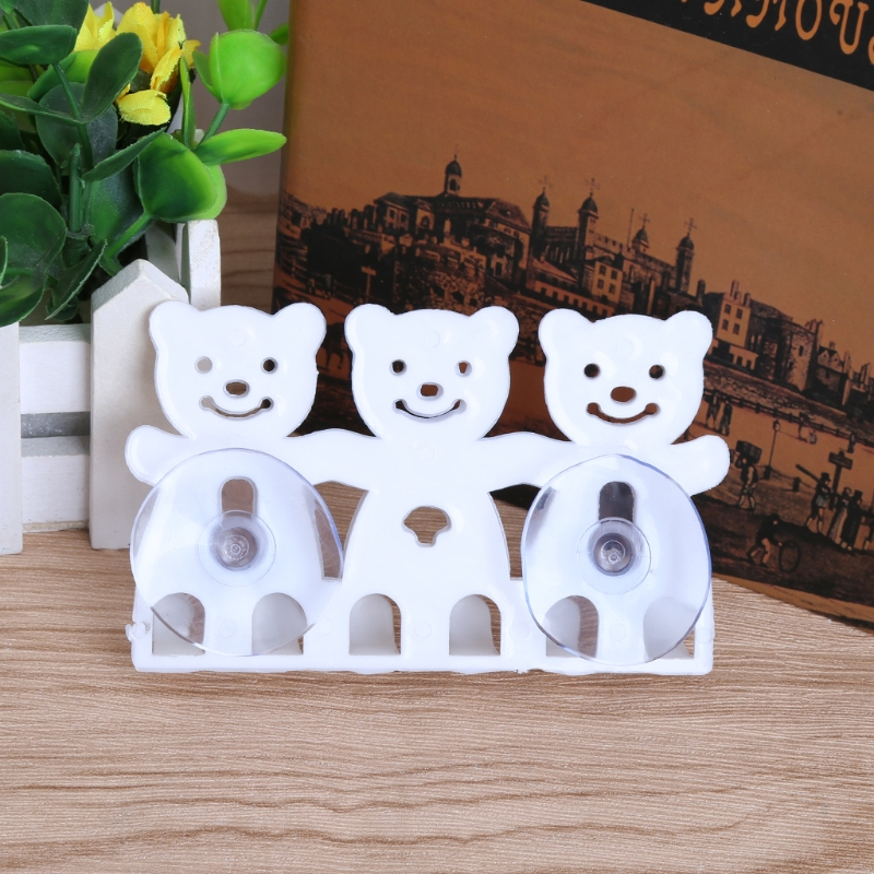 Toothbrush Holder Wall Mounted Suction Cup 5 Position Cute Cartoon Bear Bathroom Sets