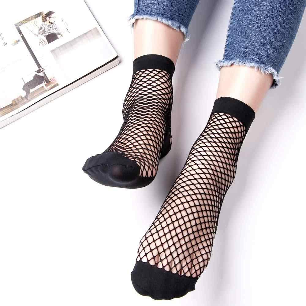 1 çift moda kadın kız Lady seksi dantel ayak bileği yüksek Fishnet Mesh Net düz renk kısa ekip yaz nefes çorap yeni varış