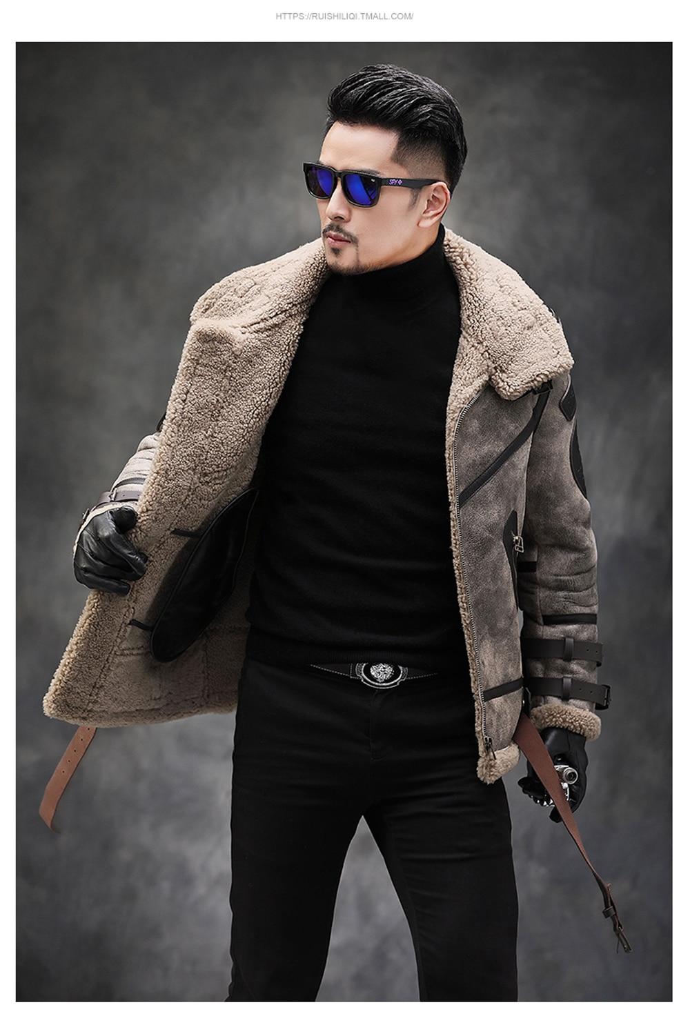 H05c89af5944a44459d2baca35b8db50fQ 2019 Fashion 100% Quality Real Sheepskin Fur Men Coat Genuine Full Pelt Sheep Shearling Male Winter Jacket Brown Men Fur Outwear
