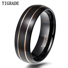 цена TIGRADE Tungsten Ring for Men Black With Gold Line 8mm Dome Comfort Fit Wedding Ring Jewelry Fashion Mens Quality Ring anel masc онлайн в 2017 году