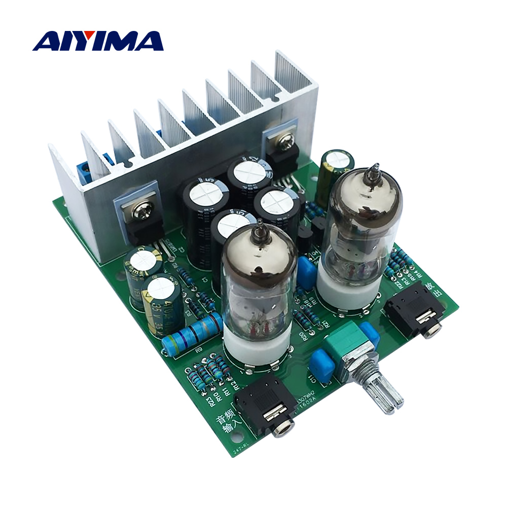 AIYIMA 6J1 Tube Preamplifier Audio Board LM1875T Power Amplifier Board 30W Preamp Bile Buffer Headphones Amplifier AMP DIY Kits