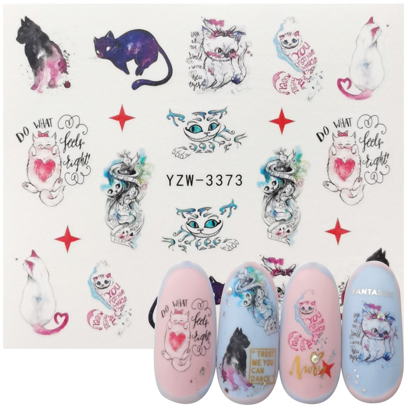 2020 New Designs Lovely Water Transfer Nails Art Sticker Cat Patterns Nail Wraps Sticker Watermark Fingernails Decals