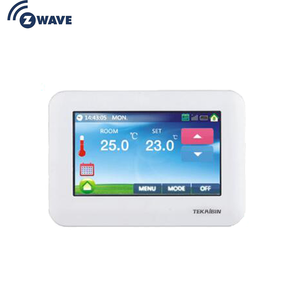 Z Wave Plus Thermostat Floor Heating Control Colorful Touch Screen Wireless Electric Heating System EU 868MHZ