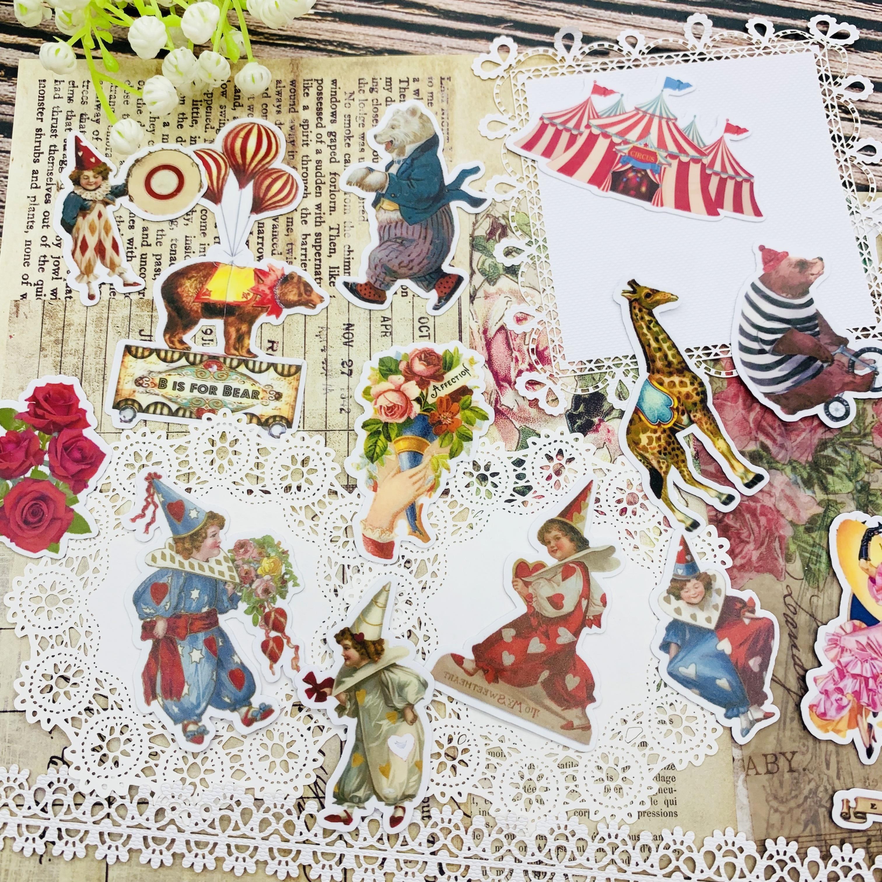 18 шт./компл. винтажная серия клоунов цирковых бриллиантов дневник нежелательной еды мобильный компьютер счастливый планировщик декоративн...