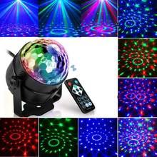 Звуковая активация вращающийся чешское стекло диско шар DJ Вечерние огни 3W LED RGB LED Освещение сцены для Рождество Свадебные звук вечерние све...