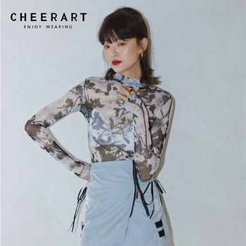 CHEERART Ink Painting Turtleneck Mesh Top Long Sleeve Printed Tshirt Women T Shirt Transparent Tight Ladies Tee Femme - discount item  37% OFF Tops & Tees