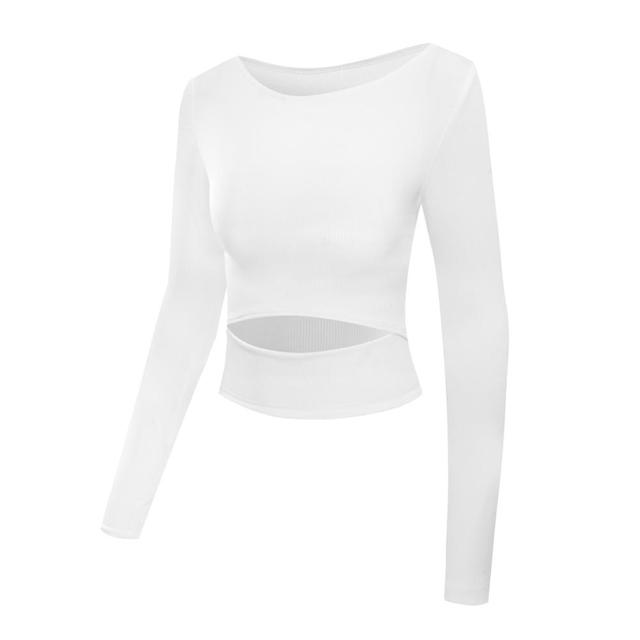 Women Gym White Yoga Crop Tops Yoga Shirts Long Sleeve Workout Tops Fitness Running Sport T-Shirts Training Yoga Sportswear Sexy 5