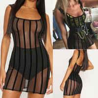Women Ladies Bodycon Holiday Beach Playsuit Mesh Fishnet Bikini Cover Up Boho Sun Mini Dress Beach Party Club Sundress Plus Size