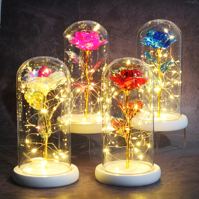 Artificial flowers Eternal Rose LED Light Beauty The Beast In Glass Cover Wedding Home Decor For Birthday Mother Day Gift 4