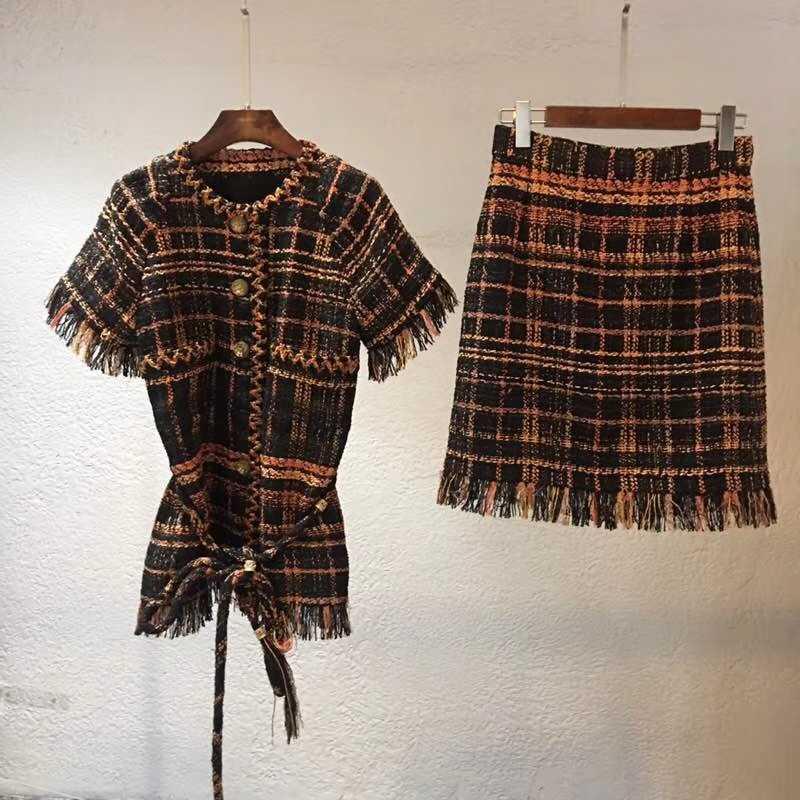 2018 กรีซคอลเลกชันผู้หญิงแจ็คเก็ตและชุดกระโปรงPLUSขนาดเสื้อTweedฤดูใบไม้ร่วงconjuntos de mujer 5XL 6XLชุดFemme