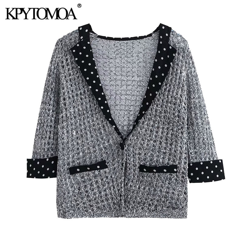 KPYTOMOA Women 2020 Fashion Sequins Patchwork Jacket Coat Vintage Three Quarter Sleeve Hollow Out Female Outerwear Chic Tops