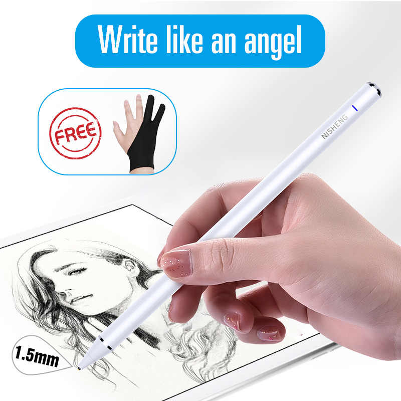 1,5mm activo Stylus Touch Pen para iPad de Apple Pro inteligente pantalla capacitiva lápiz para IOS iPhone Android tableta Microsoft Surface