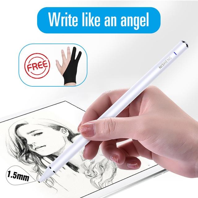 Material escolar e escritório, caneta tátil, 1.5mm, para apple ipad pro, tela capacitiva, para ios, iphone, android, microsoft superfície tablet