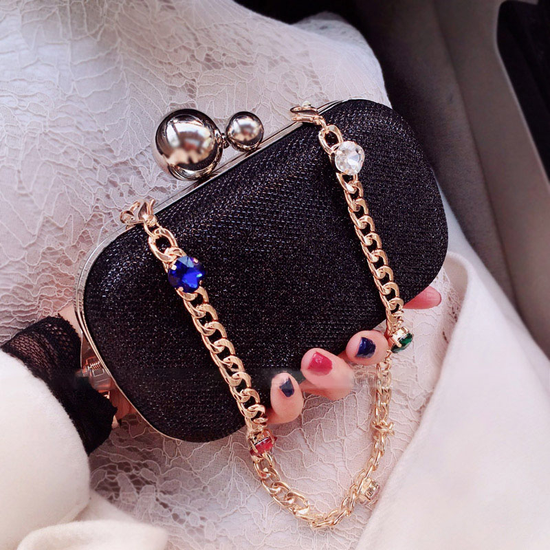 Pochette pour femmes sacs noir argent luxe sacs de soirée Diamand sacs à main PVC mariage mariée sac à main dames petit sac à bandoulière