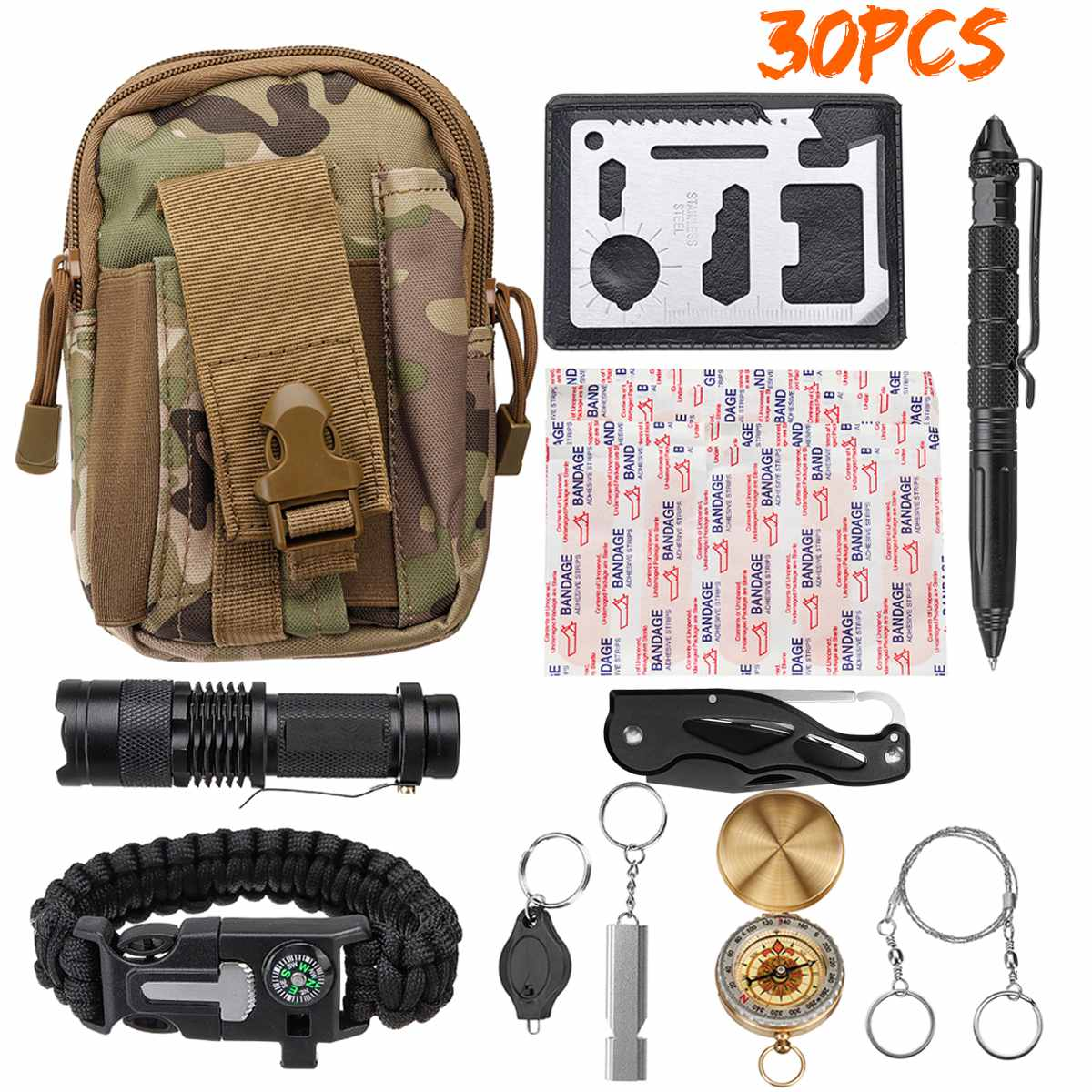 16/30Pcs One Set First Aid Kits Multifunction Outdoor Emergency SOS Tactical Survive Tools For Wilderness Camping Travel