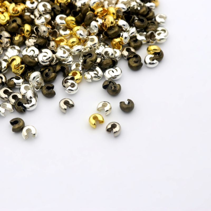 100pc 4mm Retro Silver Antique Bronze Color Round Crimp Beads Cord End Caps For Jewelry Making Diy Bracelet Necklace Wholesae(China)