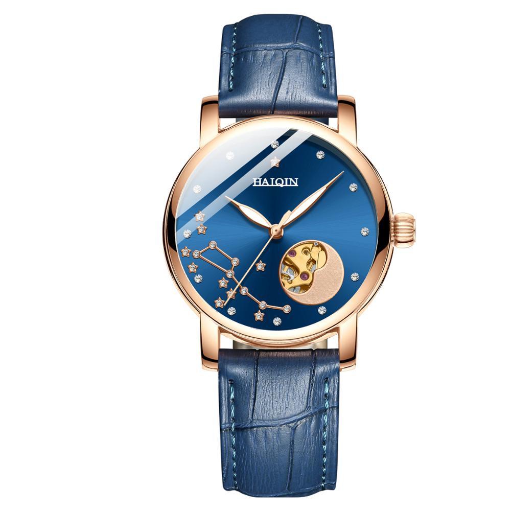 Fashion Women's Watches HAIQIN Mechanical Watches Women Automatic Watch Women Luxury Simple Ladies Watch Clock Relogio Feminino