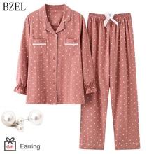 BZEL New Fashion bielizna nocna damska bawełna śliczne piżamy dziewczyny z długim rękawem topy + spodnie z kieszeniami Polka Dot Casual Lounge Wear