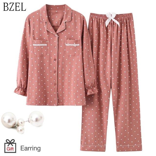 Bzel新ファッションパジャマの女性の綿のかわいいパジャマ女の子長袖トップス + パンツポケットポルカドットカジュアルラウンジ着用