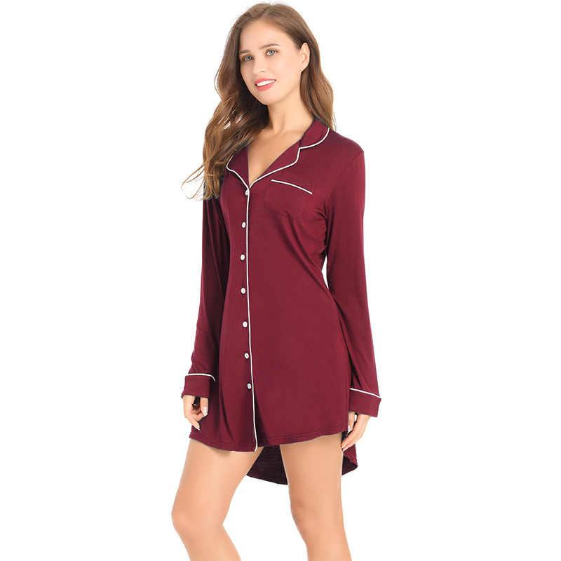 Joyaria ชุดนอนเซ็กซี่ผู้หญิงแขนยาว Nightgown ปุ่มลงเสื้อ Bamboo Sleep นุ่ม Sleep Tops Comfy PAJAMA TOP