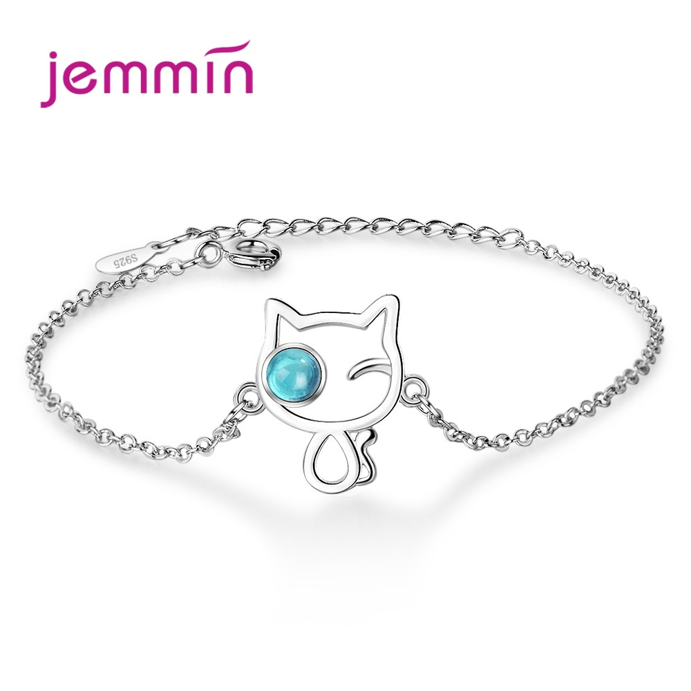 925 Sterling Silver Chain Bracelet For Women Girls Party Birthday Fashion Jewelry CZ Crystal  Cute Style Cat Design Resizable