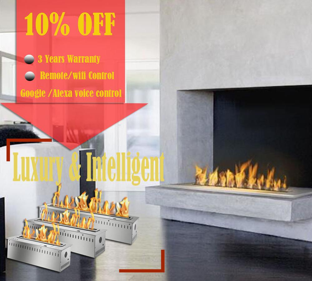 Inno Living Fire 36 Inch Stainless Steel Remote Fireplace Indoor Chimenea With Remote Control