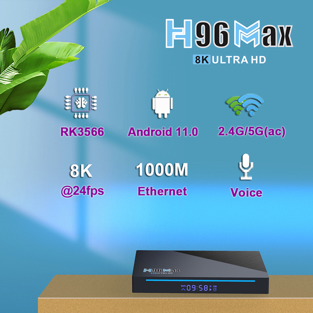 Приставка Smart-TV Vontar H96 MAX RK3566, 8 Гб RAM 64 ГБ 8K