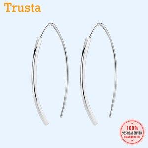 Trustdavis Genuine 925 Sterling Silver Smooth Stick Moon Hoop Earring For Women Fashion Silver 925 Jewelry Gift Wholesale DA401