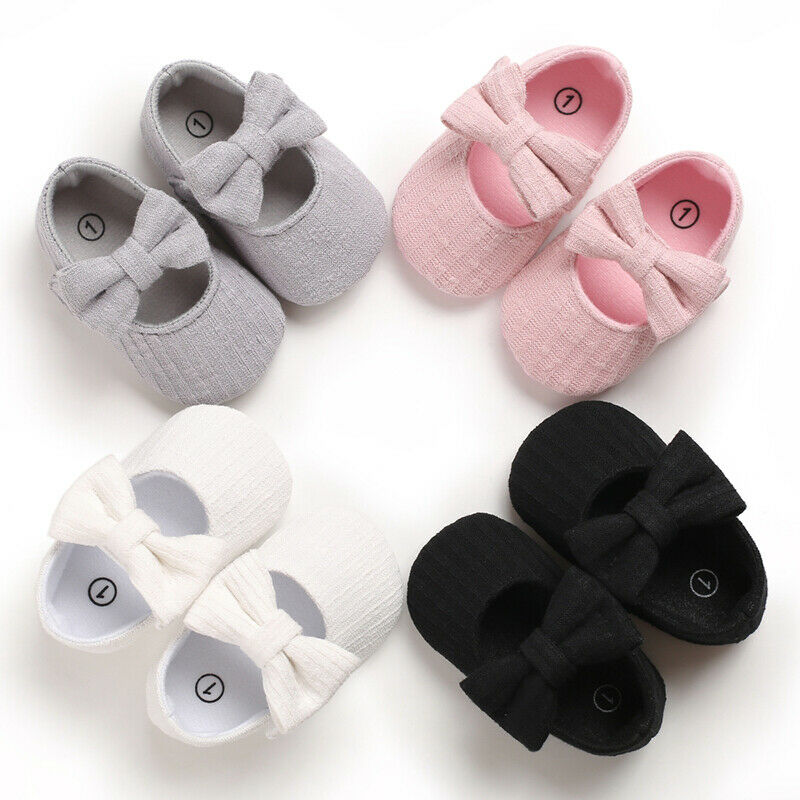 1Pair Newborn Baby Girls Crib Pram Shoes Soft Sole Anti Slip Cotton Princess Bowknot Walkers Sneaker Prewalkers First Walkers